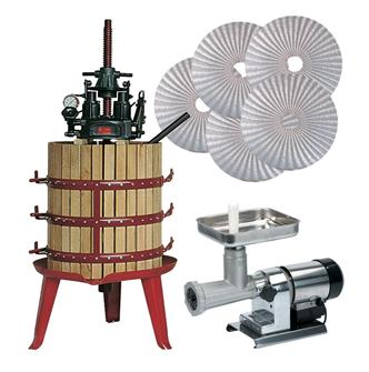 Oil manufacturing set with hydraulic press and central screw