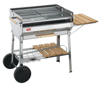 Stainless steel barbecue with a large grill