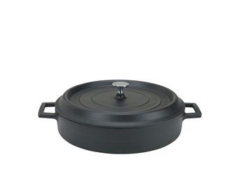 Round low 24 cm matt black casserole dish