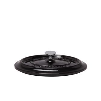 Oval shiny black cast iron lid