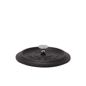 Round matt black cast iron lid