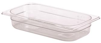 BPA free gastronorm container 1/3 in copolyester. Height: 6.5 cm.