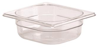 BPA free gastronorm container 1/6 in copolyester. Height 6.5 cm.