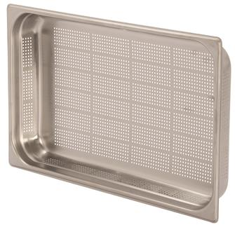 Stainless steel perforated gastronorm container 1/1. Height: 6.5 cm EN-631 standard.