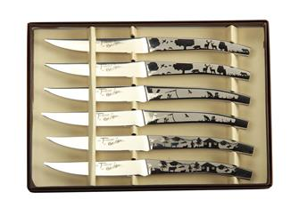 Set of 6 steak knives - nature motif