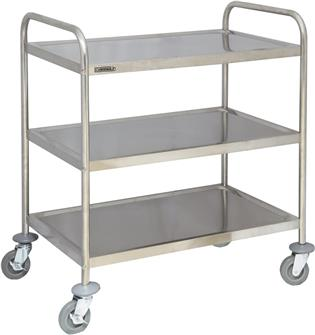 Stainless steel trolley with 3 trays