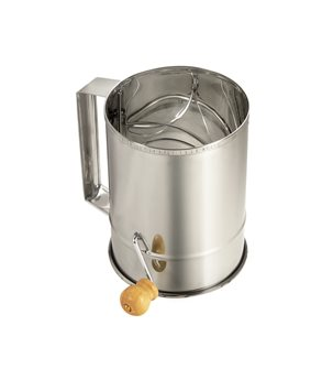 Stainless steel flour sifter with a handle