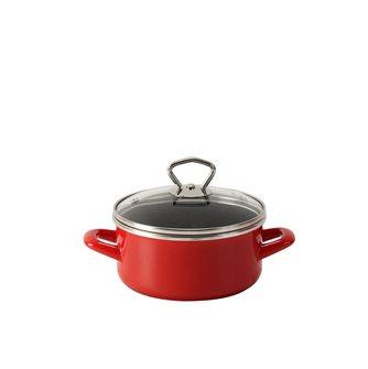 Red enamelled pan - 16 cm