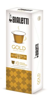 Box of 10 Bialetti Gold capsules compatible with Nespresso machines