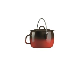 Bordeaux pot with enamelled flame and handle 24 cm