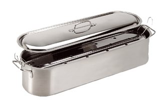Stainless steel fishmonger with grill and lid 60x16,5 cm, all heat sources including induction