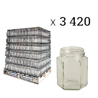 Hexagonal glass jar 195 ml by 3420