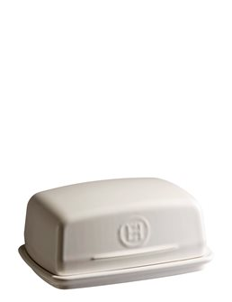 White ceramic butter dish Emile Henry Clay