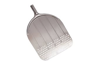 Perforated rectangular oven shovel in aluminum