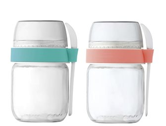 2 compartmentalized take-away pots for coral yogurt maker and green