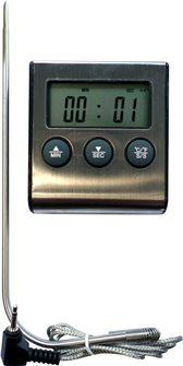 Oven thermometer with stainless probe and timer