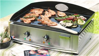 Electric plancha cooking plate, 60 cm, 3,500 W, 5 mm enamel