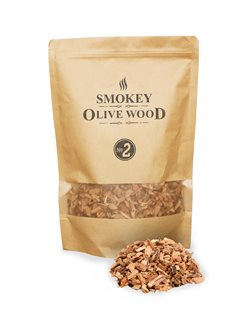 Pack of fine olive chips for smoker and barbecue