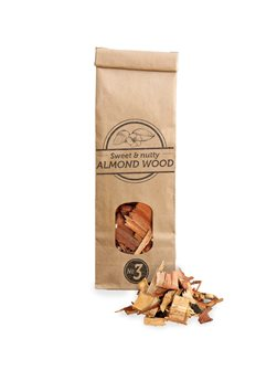Bag of big almond shavings for barbecue