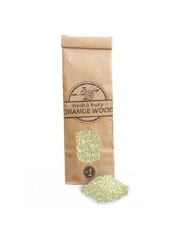 Bag of orange sawdust for smoking room