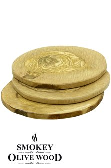 Griddle 11cm Round Olive Grilling Boards x3