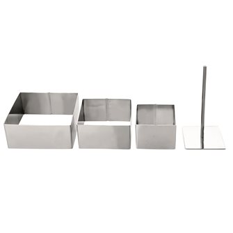 Set of 3 squares with mousse and desserts stainless steel with pusher