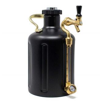Growler stainless steel 3.8 l matt black double wall pressure drum