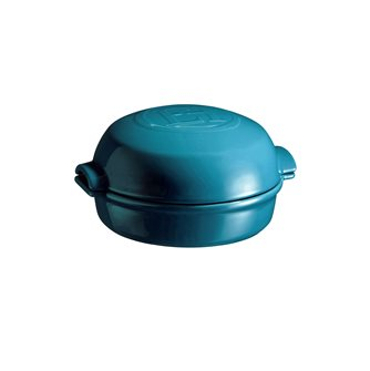 Emile Henry Calanque Blue Ceramic Oven Roasted Cheese Dish