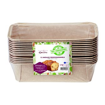Lot of 15 cake molds 23 cm in 100% biodegradable paper Natural