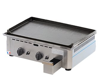 Gas plancha 20 mm raw cast iron 60x40 cm professional 6 400 W stainless steel frame made in France