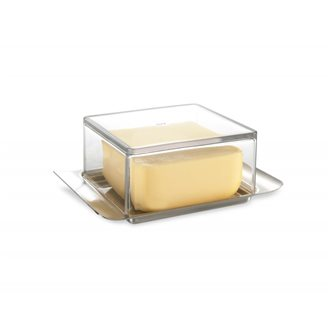 Elegant butter dish 125 g in stainless steel and translucent lid