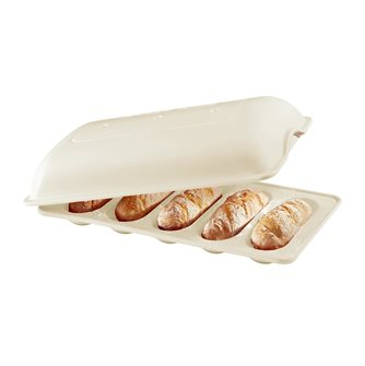 Lin Emile Henry white ceramic mini-baguettes mold for rolls and sandwiches